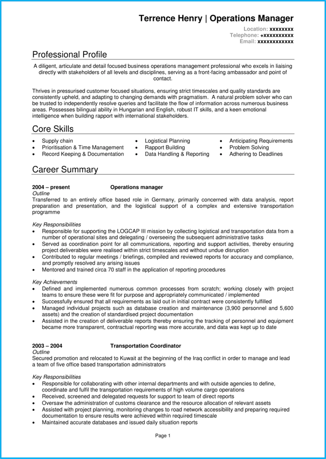 ops resume writing guide
