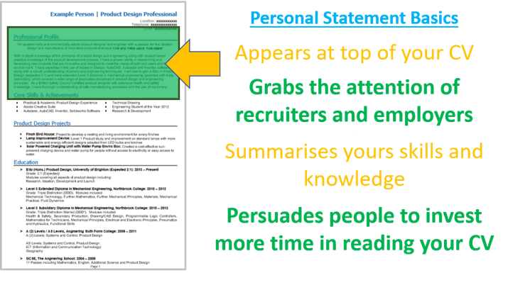 cv personal statement examples gcse students