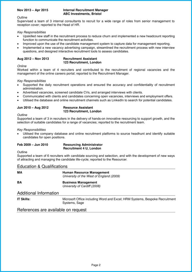 recruitment consultant cv