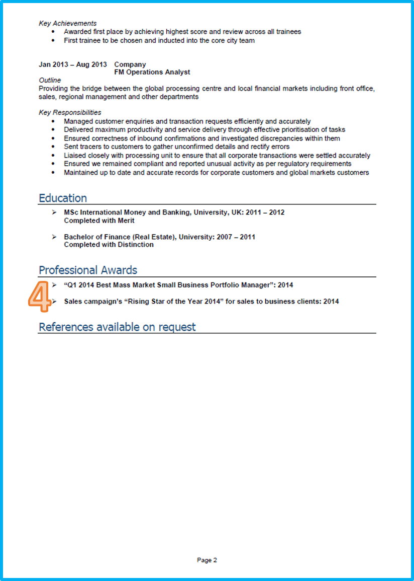 graduate cv example finance