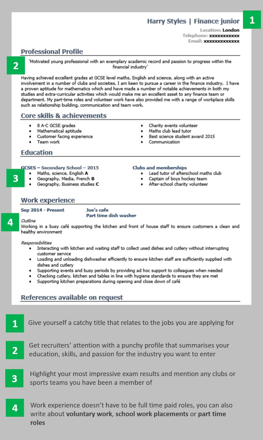 how to write a good cv with no work experience