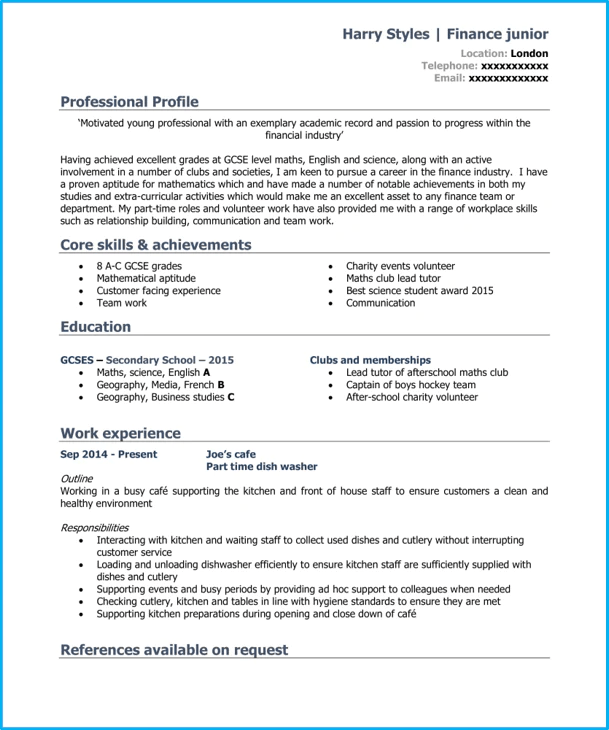 second degree english teacher cv model