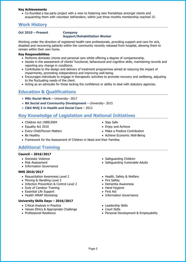 resume summary social worker