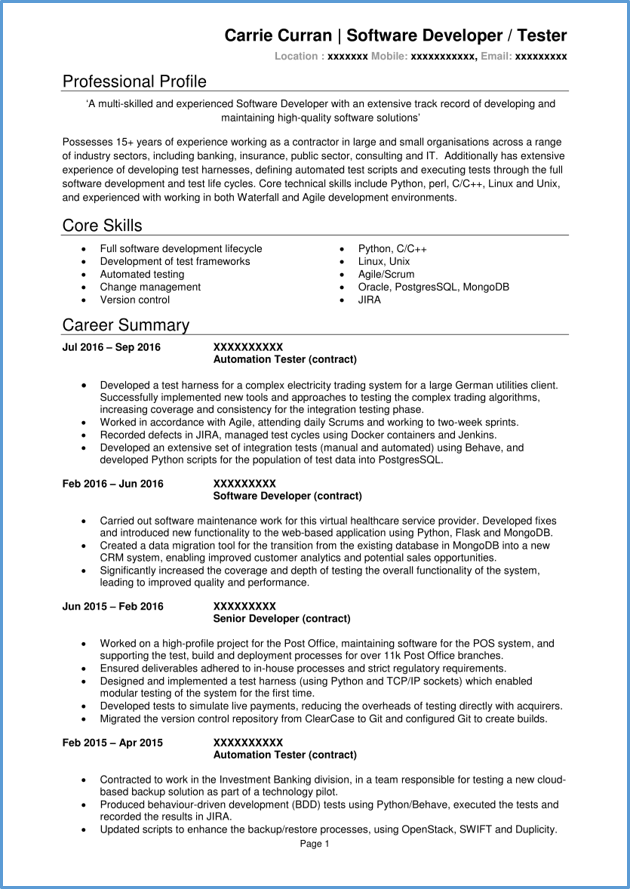 developer resume examples skills
