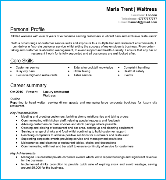 Resume Template For Waitress Waitress Or Waiter Cv Example With Writing Guide And Cv