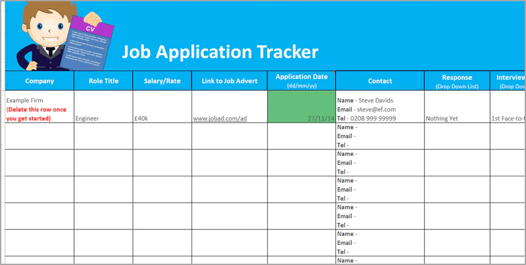 job tracking excel