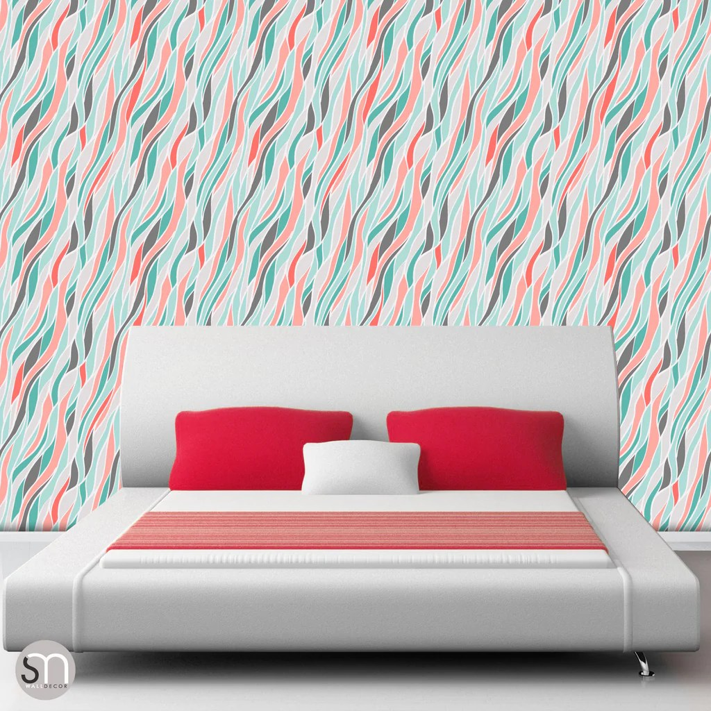 LOOSE ABSTRACT WAVES - Peel & Stick Wallpaper | GraphicsMesh