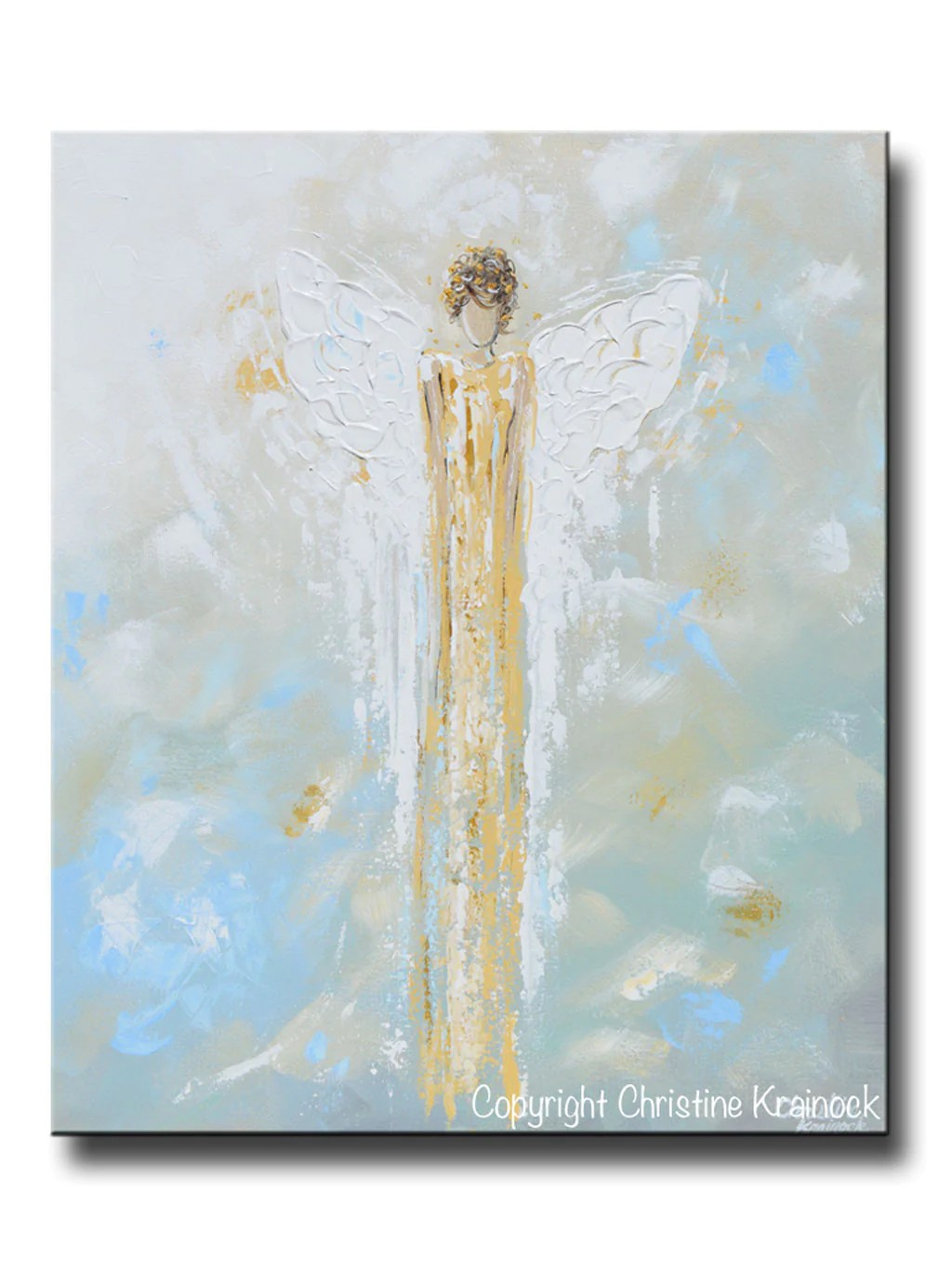 Wandbild Küchenmotiv Print Abstract Guardian Angel Painting Gold Blue Wall Art