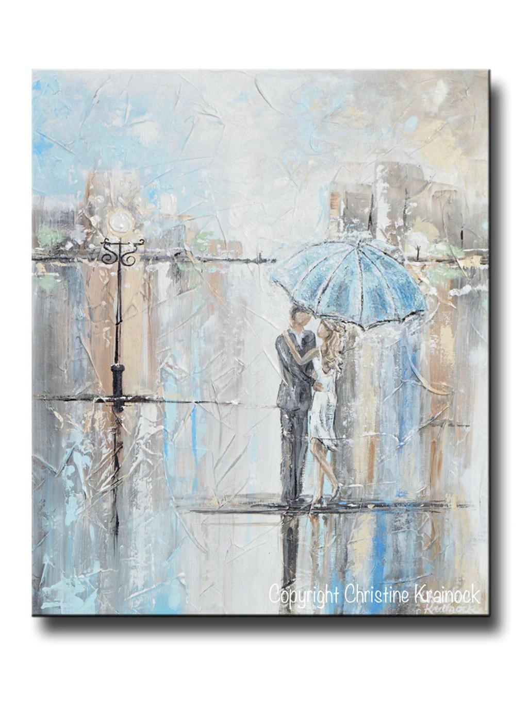 ORIGINAL Art Abstract Painting Couple w/ Umbrella Romantic