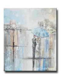 ORIGINAL Art Abstract Painting Couple w/ Umbrella Romantic