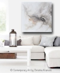 GICLEE PRINT Original Art White Grey Abstract Painting ...