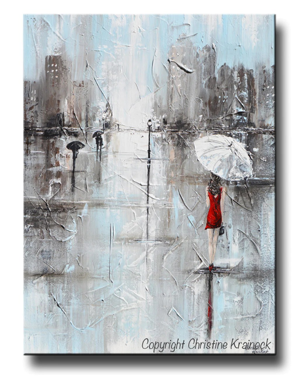 Abstract Art Prints On Canvas Giclee Print Art Abstract Painting Girl White Umbrella Red Dress Grey Blue City Rain Canvas