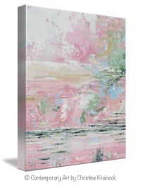 Giclee Print Art Abstract Pink White Painting Modern Wall ...