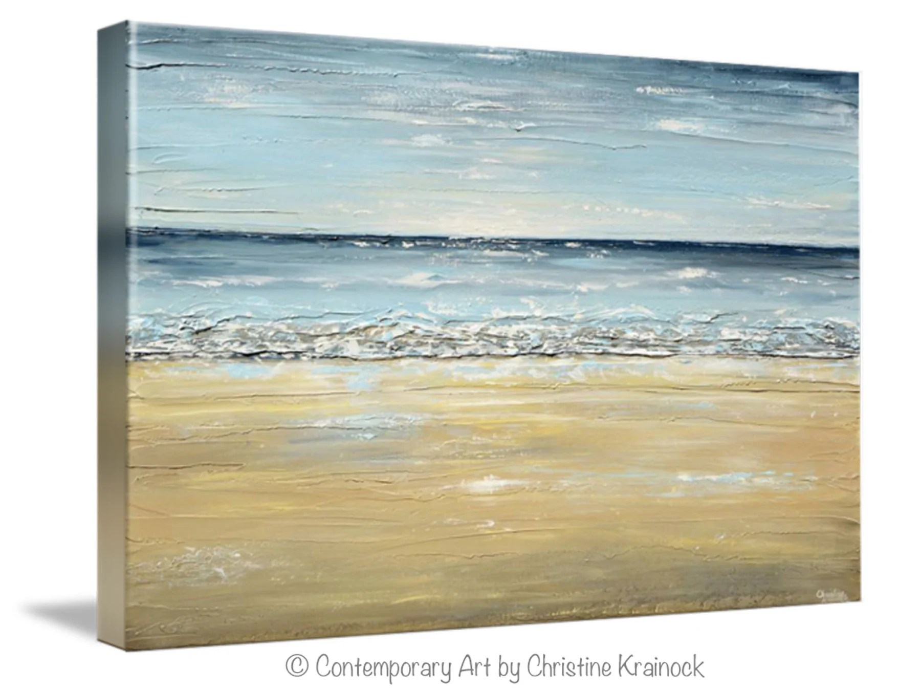 Abstract Art Prints On Canvas Giclee Print Art Abstract Seascape Painting Beach Ocean Blue Beige White Large Canvas Coastal Decor