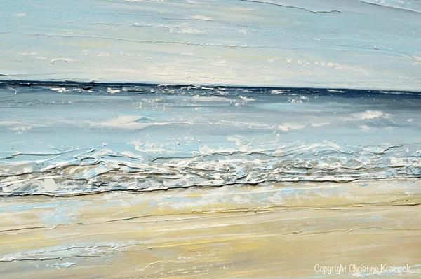 ORIGINAL Art Abstract Seascape Painting Beach Ocean Blue