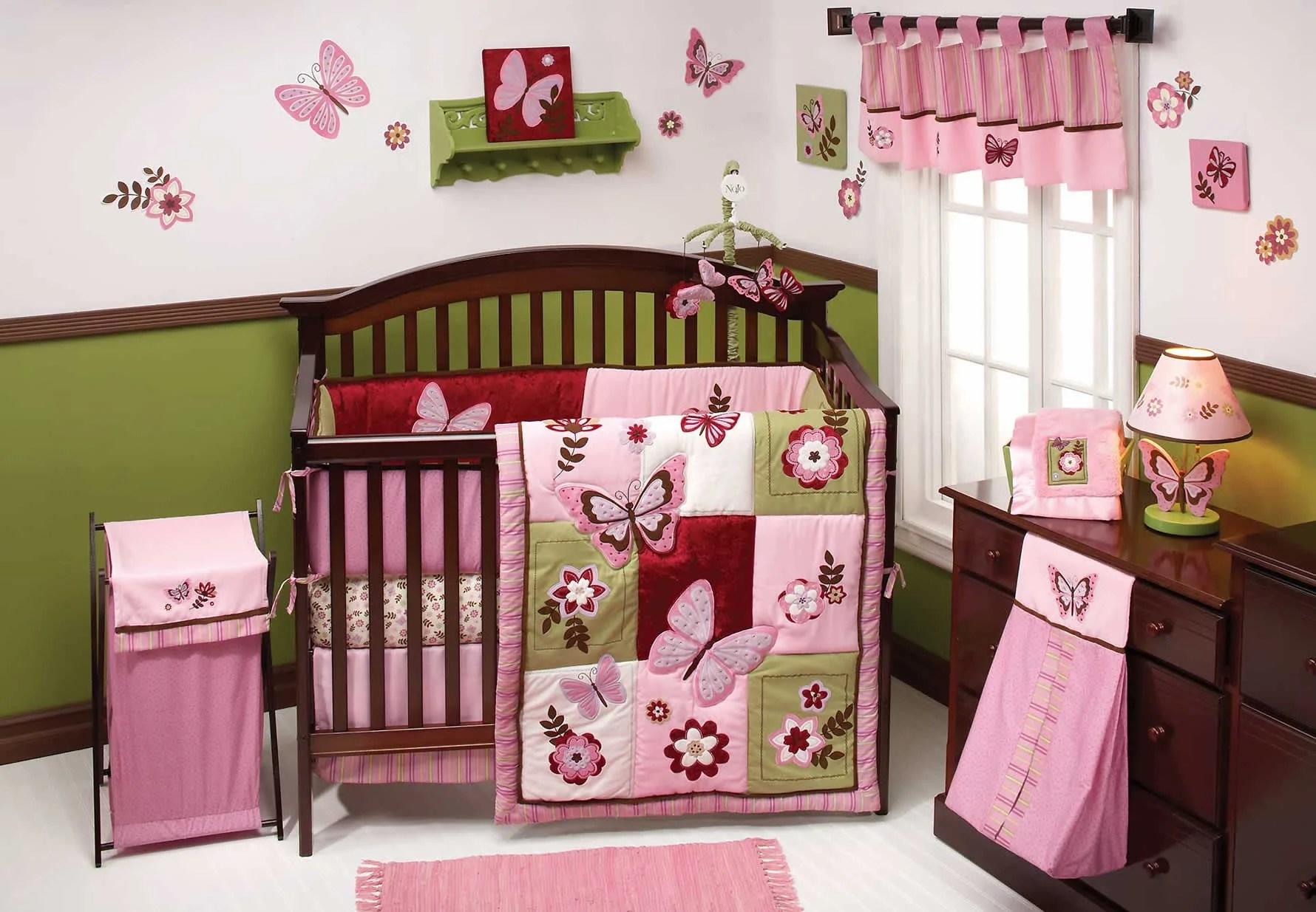 A complete crib with bedding set