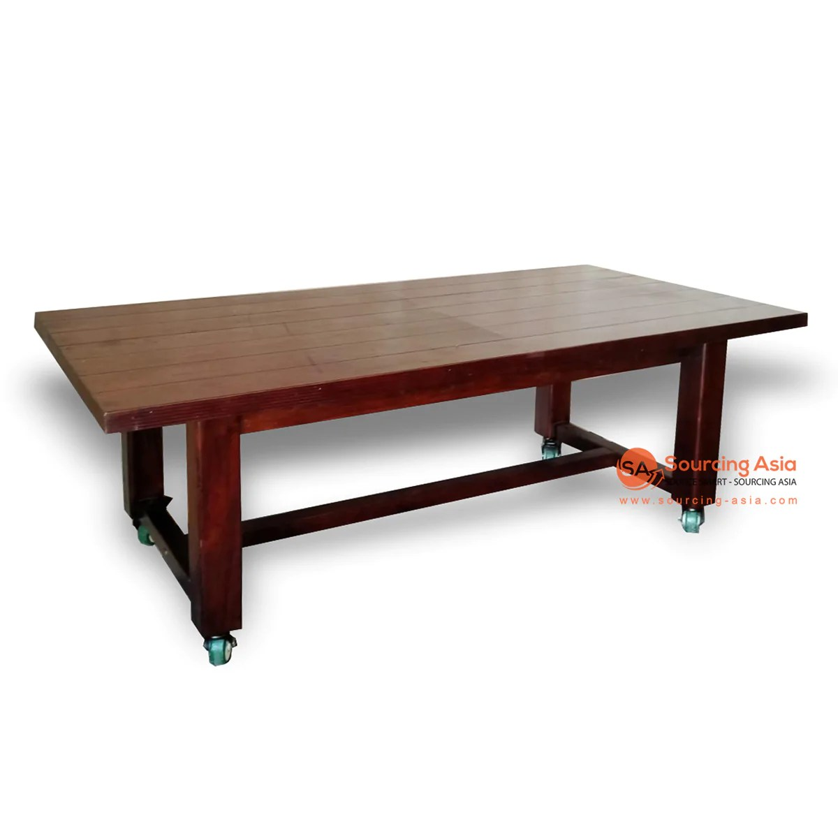 Ecl260 1 Knockdown Recycled Teak Wood Dining Table With Added Wheels Sourcing Asia