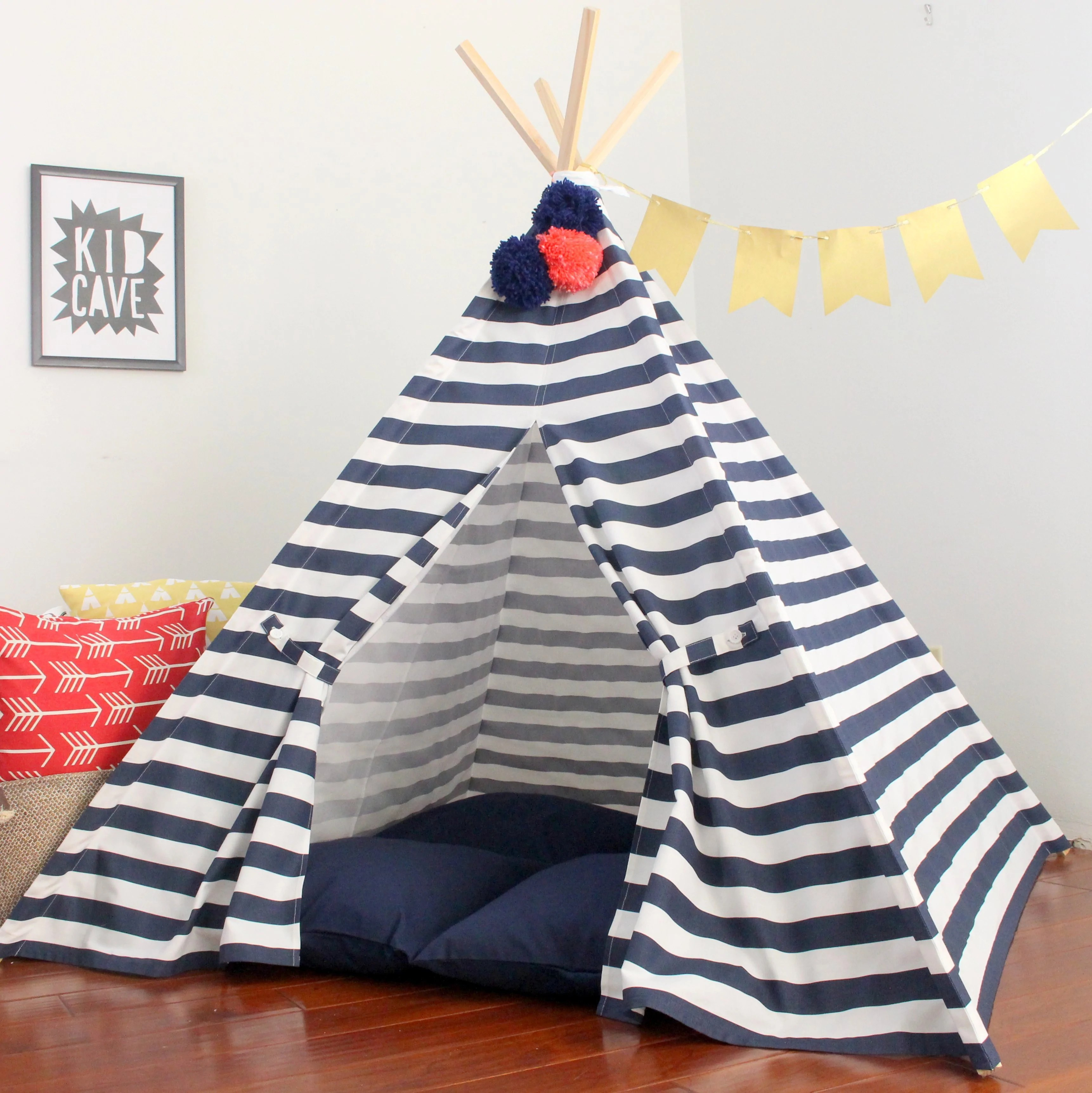 Teepee Kids Navy Striped Play Tent Kids Teepee Tent