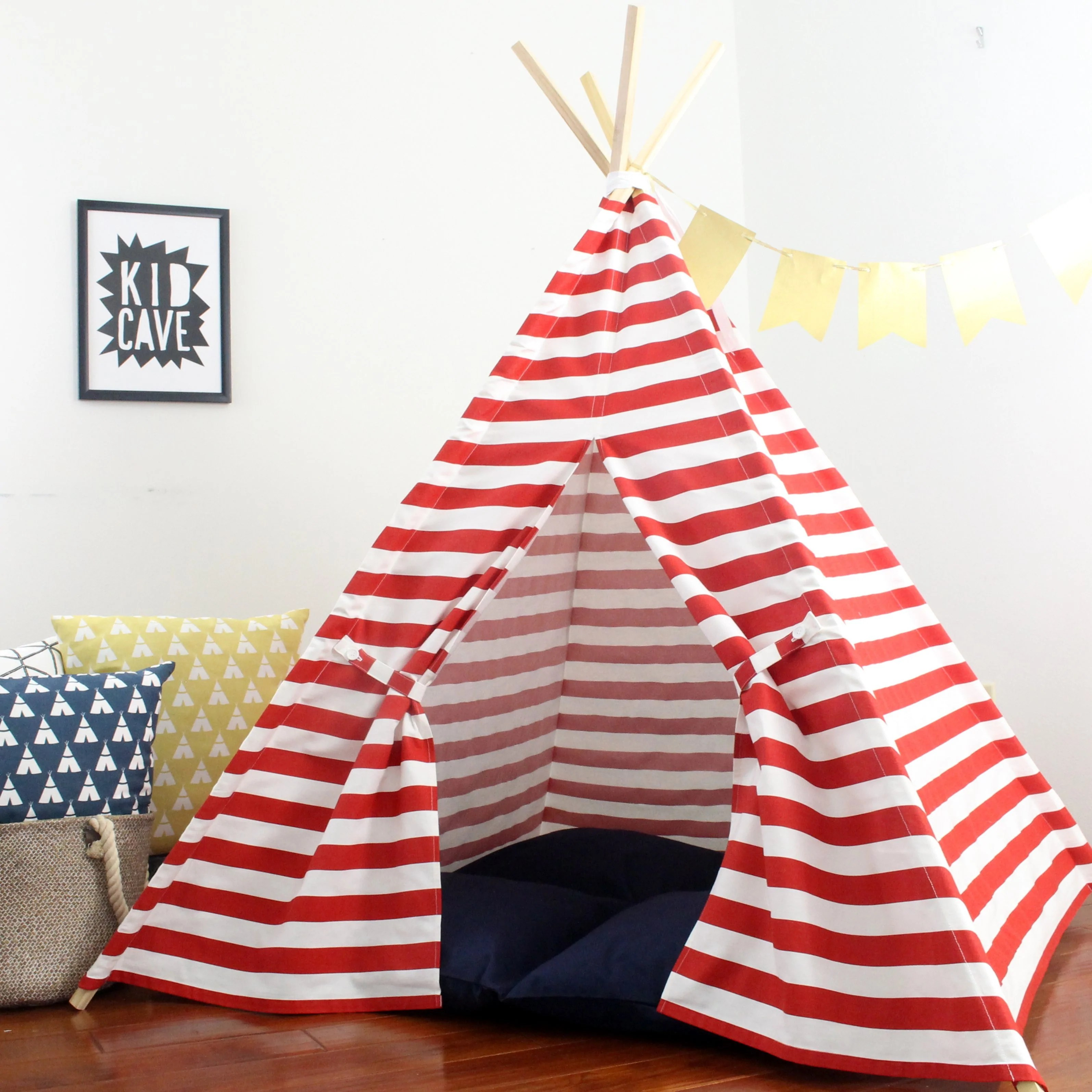 Teepee Kids Striped Kids Teepee In Red Can Include Window