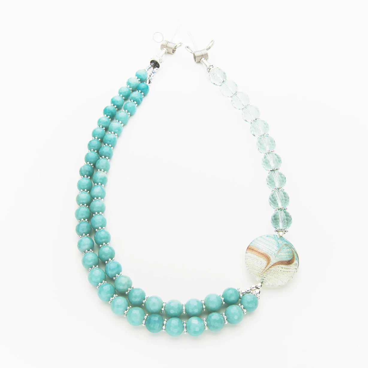 Arete From Greek Arete Amazonite And Blue Crystal Necklace
