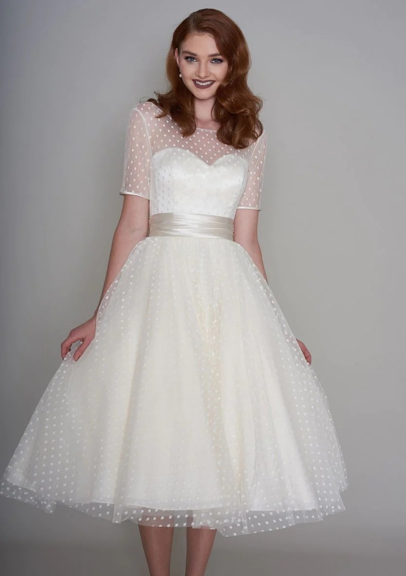 bridal wear 50s style wedding dresses 86 nellie Classic Fifties style tea length wedding dress
