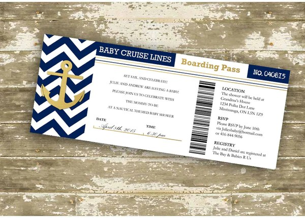 Faux Foil Baby Cruise Lines Boarding Pass Baby Shower