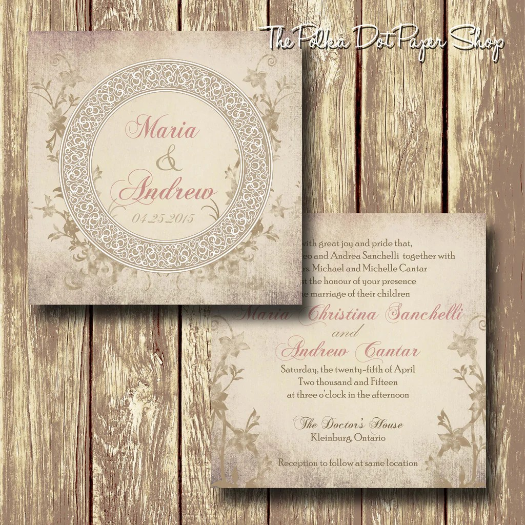 Shabby Chic Shop Soft Shabby Chic Romance Printed Invitation 0228 The Polka