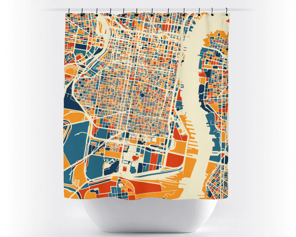 Usa Shower Curtain Philadelphia Map Shower Curtain Usa Shower Curtain Chroma Series