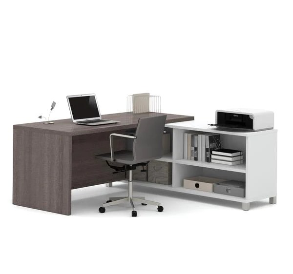 Bureau Home Studio Pas Cher Modern Bark Grey And White L-shaped Office Desk With Built