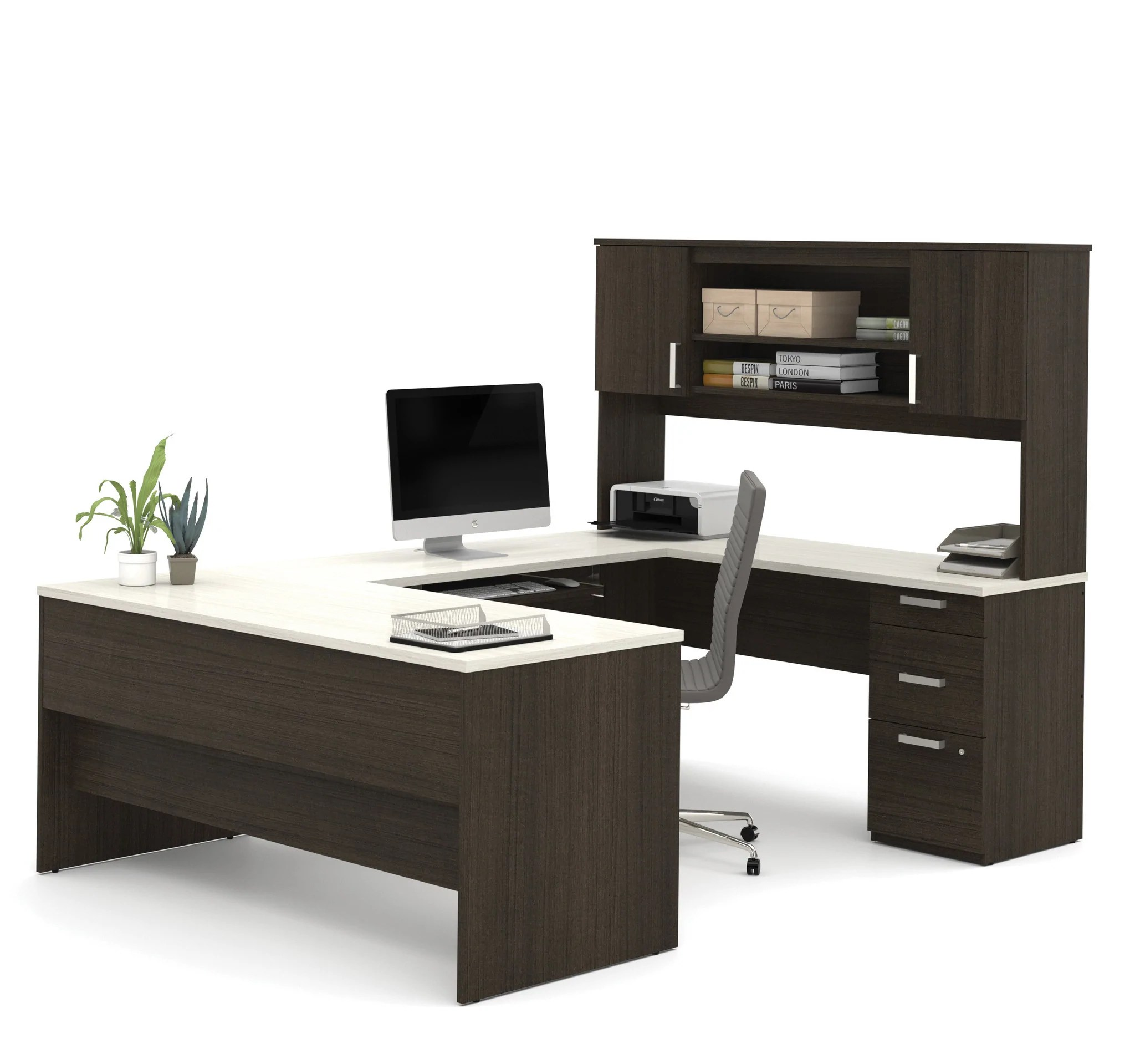 White Office Desk Dark Chocolate White Modern U Shaped Office Desk Computerdesk