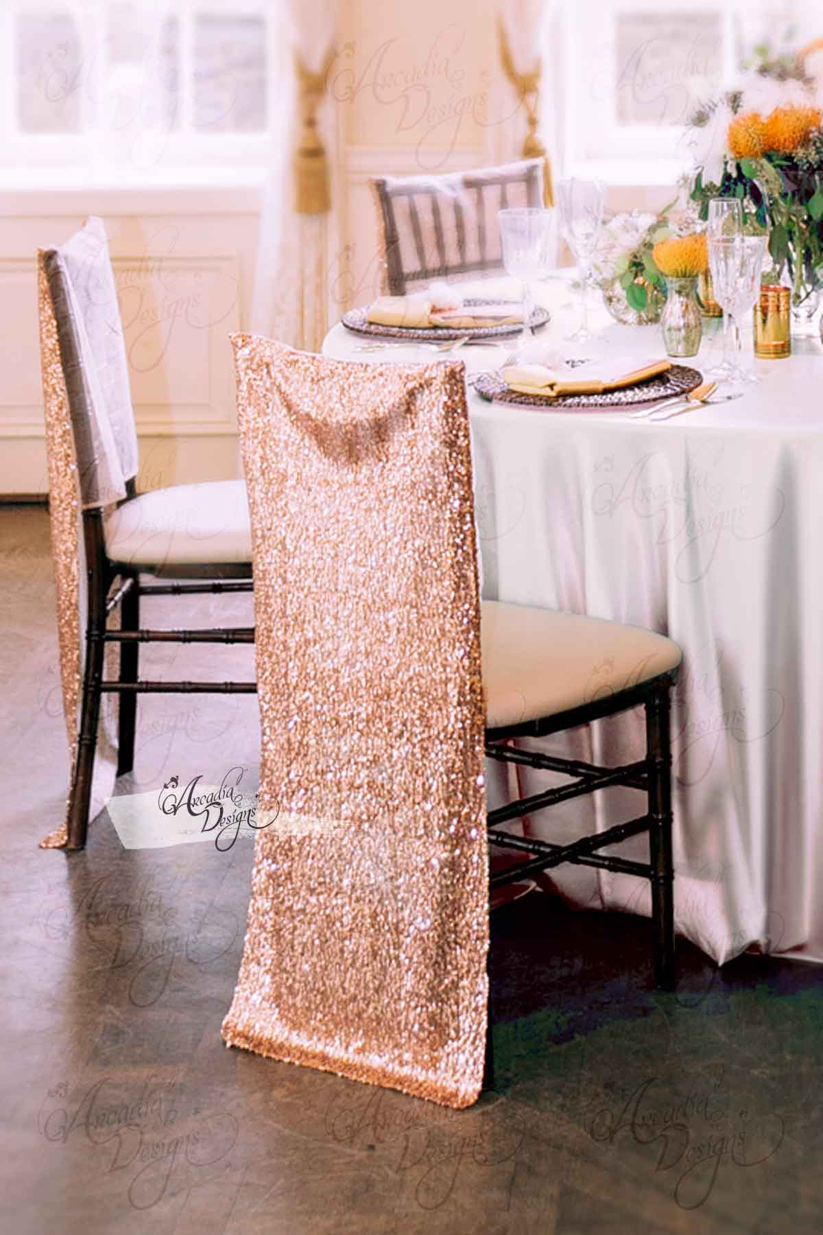 Chair Cover Shimmer Rose Gold Chiavari Sequin Chair Cover