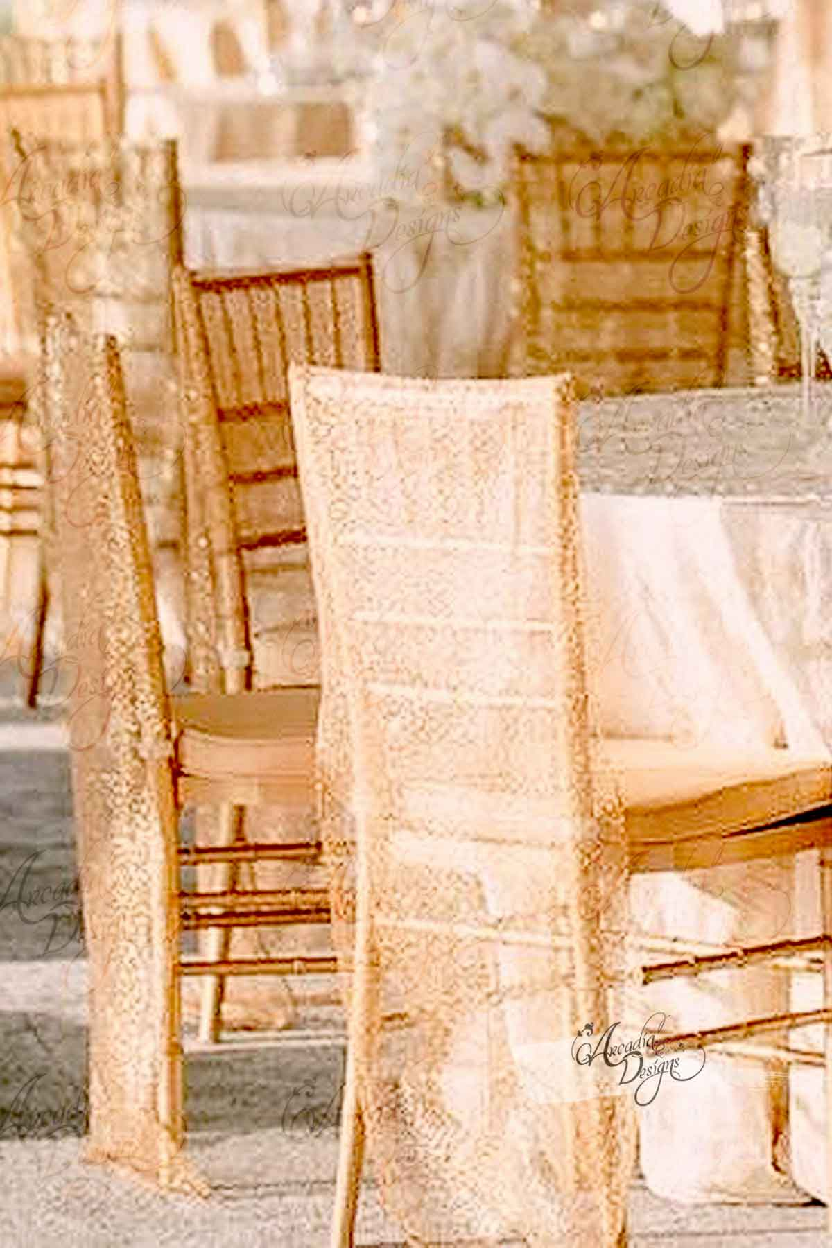 Chair Cover Shimmer Gold Chiavari Sequin Chair Cover