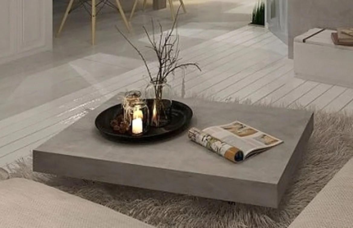 Table On Wheels Vega Concrete Coffee Table On Wheels