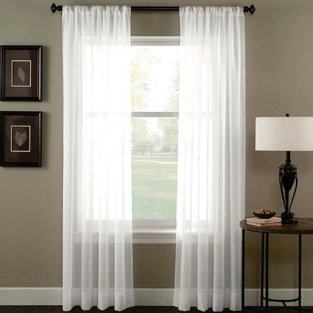 Curtain Fabric Wholesale Sheer Voile Rod Pocket Curtains