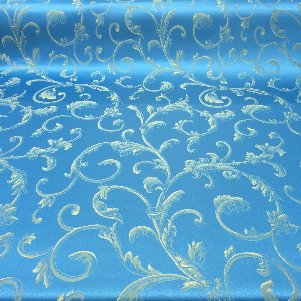 Curtain Fabric Wholesale Turquoise Gold Jacquard