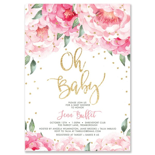 The Yellow Wallpaper Quotes Enclosure Pink Peonies Baby Shower Invitation Gold Glitter Confetti