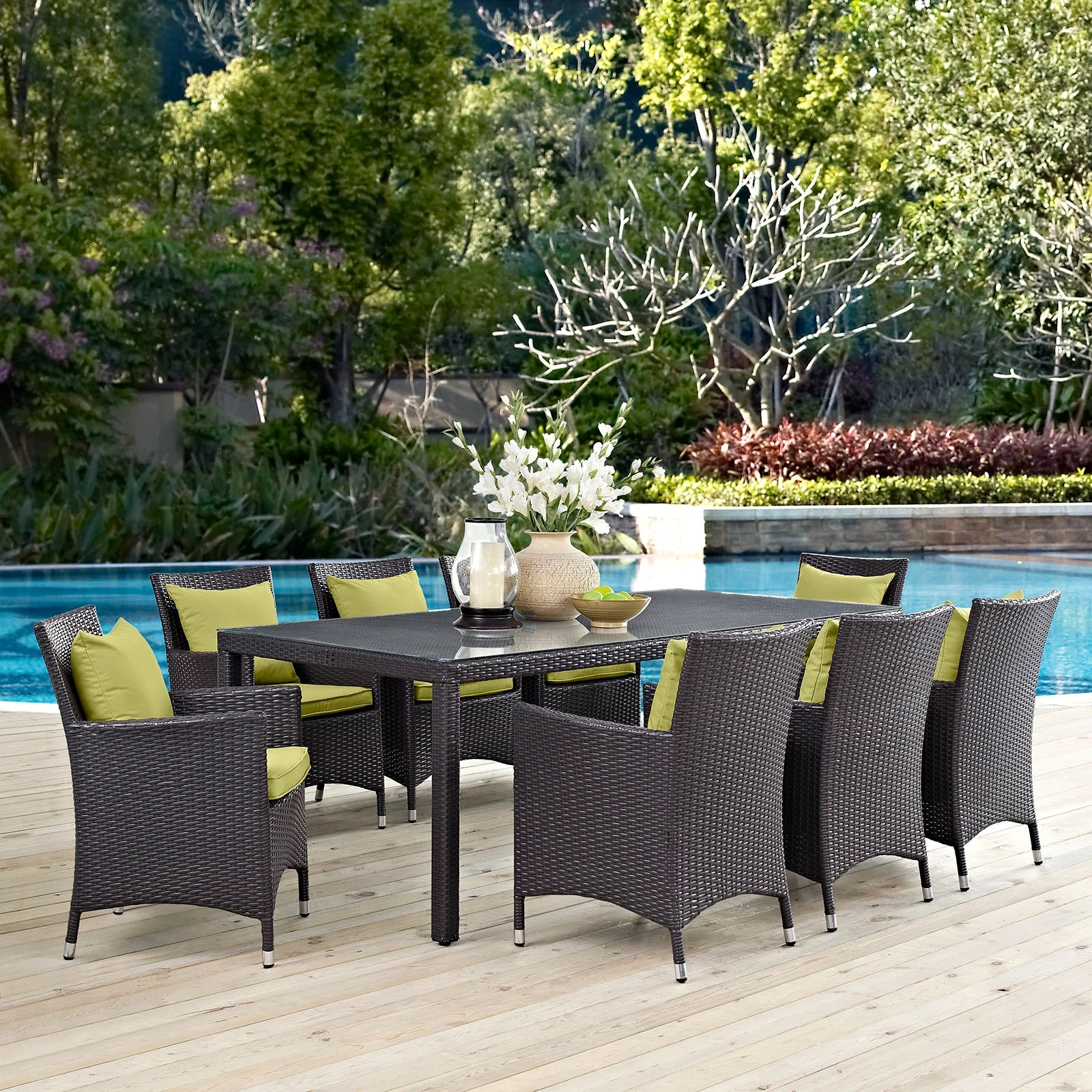 9 Piece Outdoor Dining Set Modway Convene 9 Piece Outdoor Patio Dining Set Eei 2217