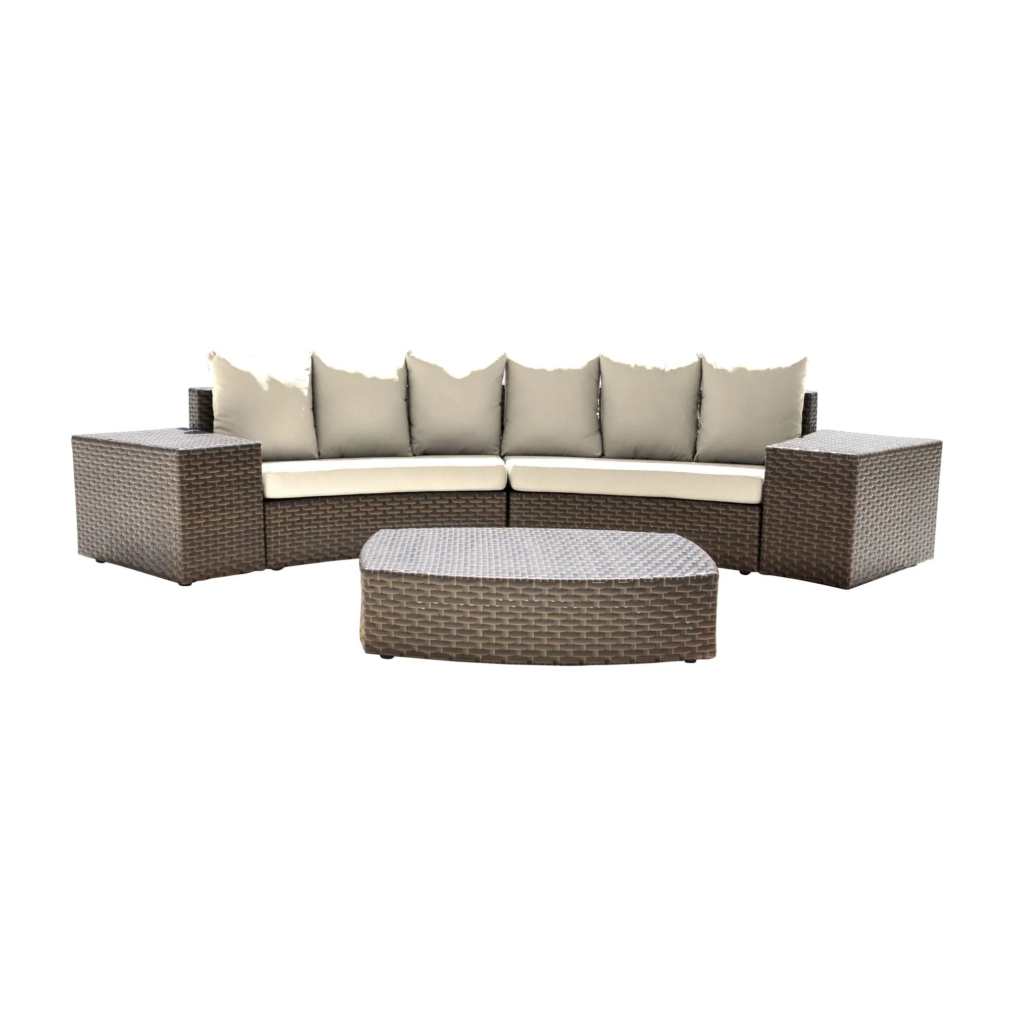 Owen 5 Piece Rattan Sofa Set With Cushions Sectional Sets Betterpatio