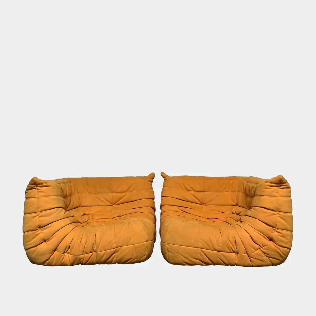Togo Sofa Ligne Roset Orange Ultra Suede Togo Sofa La Consignment