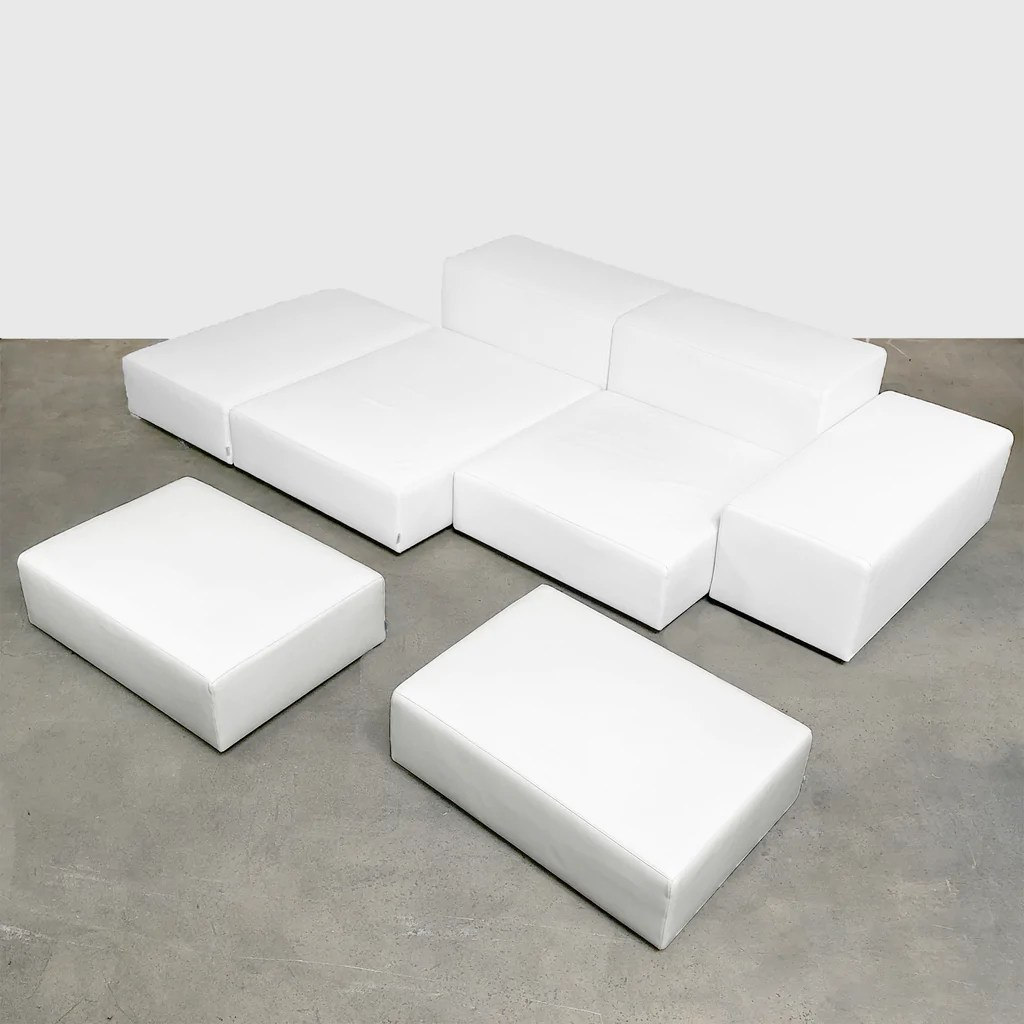 Piero Lissoni Modular Sofa Living Divani Extra Wall 8 White Leather Sofa Modern Resale