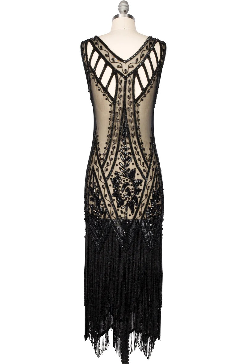 Icon Haus 1920 S Vintage Flapper Beaded Fringe Gatsby Gown The Icon Black Jet Full Length
