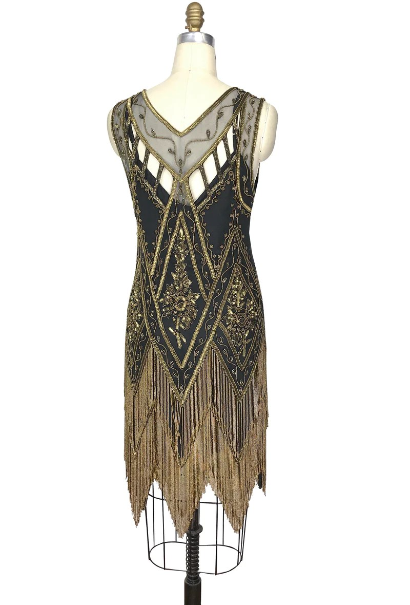 Icon Haus 1920 S Vintage Flapper Beaded Fringe Gatsby Gown The Icon