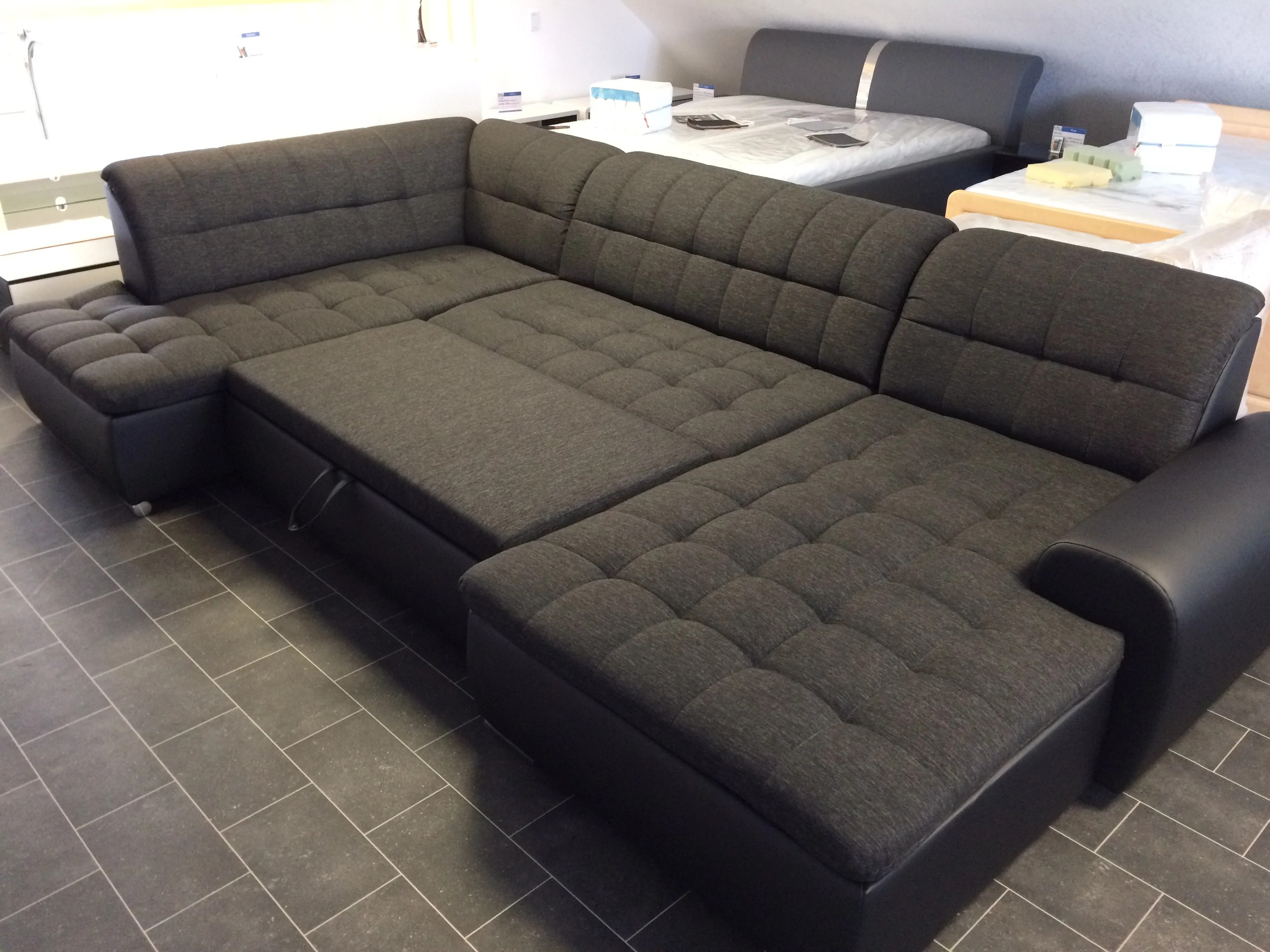 "U Couch U-shape Sectional ""edard"" In Black Pu Leather And Black ..."