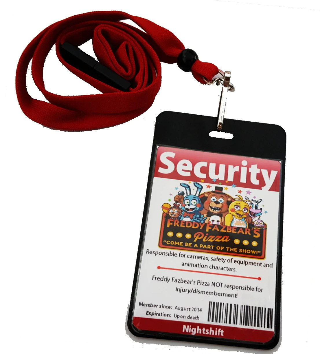 2048 Fnaf Two Sided Five Nights At Freddys Fnaf Security Guard Id Badge Costume Prop
