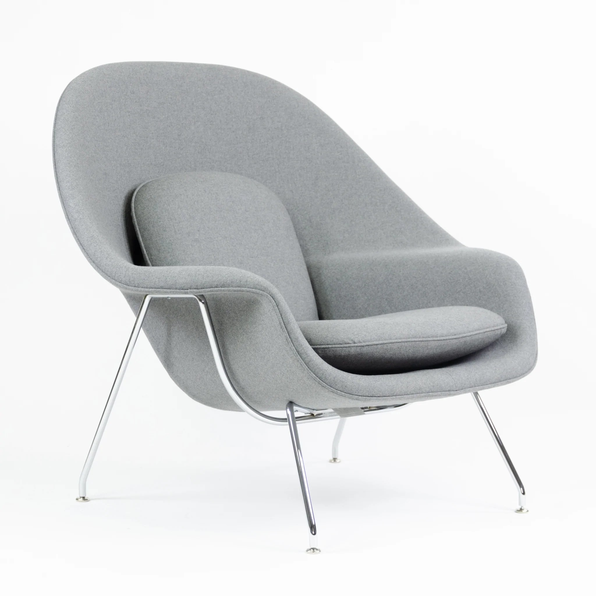 Knoll International Brand New Eero Saarinen Womb Chair Knoll International Full Size Gray Fabric 4x