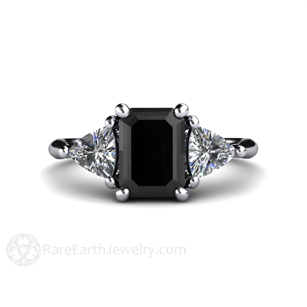 Black Diamond Black Diamond Engagement Ring 3 Stone With Sapphire Trillions