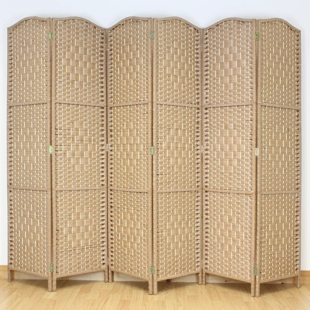 Rattan Paravent Natural Weave Wicker Room Divider - 6 Panel – Room Dividers Uk
