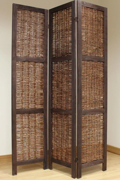 Black Friday Shopping Shabby Chic Wicker Room Divider Screen - 3 Panel - Brown