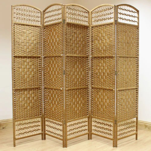 Rattan Paravent Natural Hand Made Wicker Room Divider Screen - 5 Panel