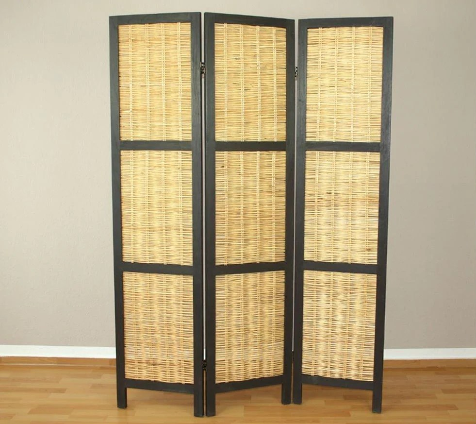 Rattan Paravent Wicker Room Divider Screen - 3 Panel - Natural – Room